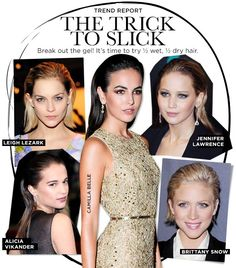 """Slicked back: Camilla Belle's hairstylist says it's less about which gel/pomade and more about how you use it. (For hair that will revert back to a curly texture with gel, using a thick pomade is a good alternative) """"Smooth a small amount of gel over the top of the hair with your hands,"""" says Gio Campora."""