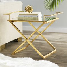 Metal End Tables You'll Love Mirrored End Table, Marble End Tables, Metal End Tables, Side Tables, Blue Couch Living Room, Table Decor Living Room, Living Rooms, Gold Framed Mirror, Mirror Tray