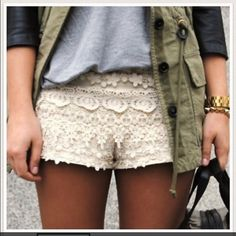 Zara crochet shorts Crochet shorts with zipper closure Zara Shorts