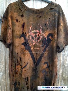 Post Apocalyptic Mad Max style LARP tee shirt aged by Mark Cordory Creations www.markcordory.com