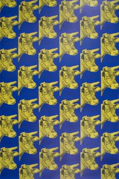 """""""Multiple Yellow Cows on Blue"""" - Andy Warhol posters and prints available at Barewalls.com"""