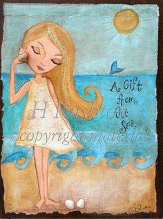 Beach Decor Girls Art Mixed Media Childrens Art by HRushtonArt