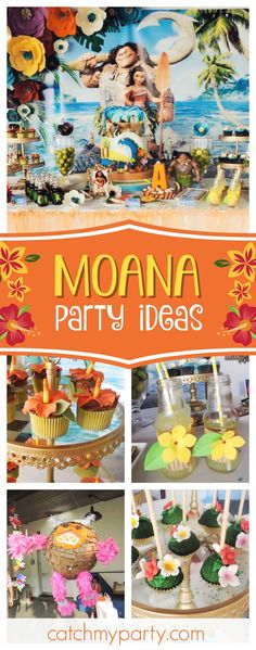 Take a look at this wonderful Moana birthday bash! The birthday cake is gorgeou… - Modernes Moana Birthday Party, Moana Party, 4th Birthday Parties, Birthday Bash, Moana Theme, Birthday Ideas, Hawaiian Luau Party, Hawaiian Birthday, Tropical Party Foods