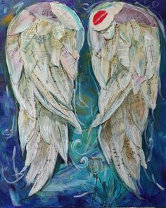 Angel wings painting Wings Of Love The Kiss mixed media on canvas