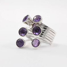 Amethyst ring Large sterling silver wide band ring Edgy