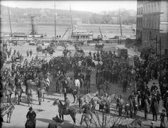 The start of a Tramore Harriers Meet at The Mall, Waterford. Date: Monday, 18 March 1912 NLI Ref. Paris Skyline, Crowd, Mall, Ireland, Travel, Viajes, Destinations, Irish, Traveling