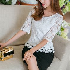 2017 Summer Sexy Women Lace Blouse Ladies Elegant White Crochet O neck Half Sleeve Casual Slim Tops Shirts Plus Size Blusas