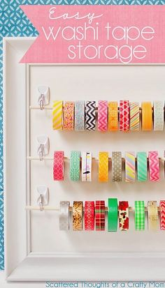 Make your own washi tape storage! http://www.hearthandmade.co.uk/diy-craft-room-organization-ideas/?utm_campaign=coschedule&utm_source=pinterest&utm_medium=Heart%20Handmade%20UK&utm_content=Awesome%20DIY%20Craft%20Room%20Organization%20Ideas%20To%20Steal%20Right%20Now%21