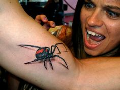 #Realistic3Dspider #tattoo on arm   OMG!  This is crazy and I would never get it but the art is pretty fantastic.