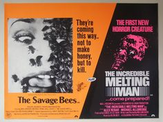 The Savage Bees + The Incredible Melting Man British quad poster - 'come prepared'! Sci Fi Horror Movies, New Coming, Movie Previews, Columbia Pictures, Film Stills, Vintage Movies, Savage, Quad, Pop Culture