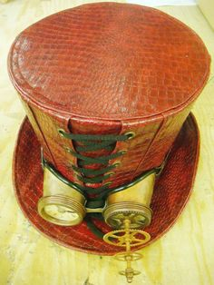 Steampunk Red Leather Look Top Hat with rustic mad 3D goggle  #Raven #SteampunkVictorianGothic