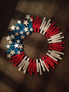 Stars idea executed different   Clothes Pin American Flag wreath by MimisThisandThat on Etsy, $25.00