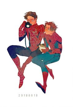 2 Spider-Man by Luoman Marvel Funny, Marvel Memes, Marvel Dc Comics, Marvel Avengers, Parker Spiderman, Spiderman Art, Character Drawing, Comic Character, Marvel Fan Art
