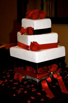 white with black and red ribbons