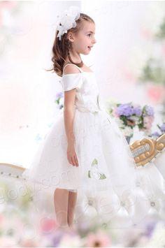 A Line Spaghetti Strap Tea Length Tulle Ivory Flower Girl Dress CKZI13009 #girldress #cocomelody