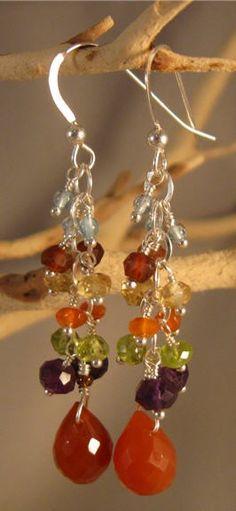 Gemstone Cluster Earrings gemstone earrings silver от jjewelsatl