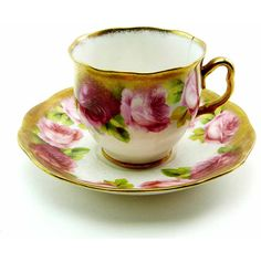 Antique 1930s Royal Albert Rose Gold Reg No. 749633 Fine Bone China... ($26) ❤ liked on Polyvore featuring home, home decor, english bone china, royal albert, antique bone china, pink flamingo home decor and pink home accessories