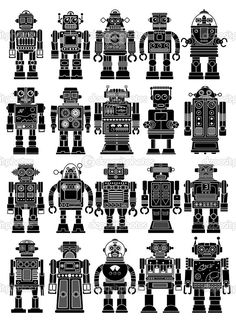 vintage robots Collection of twenty different Vintage Tin Toy Robots Vector by renomartin Vintage Robots, Retro Robot, Vintage Tins, Crazy Toys, Robot Illustration, Tattoo Flash Art, Tour Posters, Robot Art, Tin Toys
