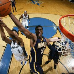 Roy Hibbert #55 of the Indiana Pacers attacks the rim.