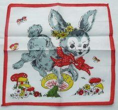 Grey Rabbit Jumping over Mushroom Child's Hanky