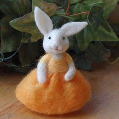 """Needle Felted Bunny Rabbit by Bear Creek Designs about 5"""" tall -- great expression, so very cute for Easter!"""