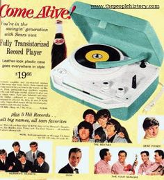 What a great example from the mid 60's a  Fully Transistorized Record Player including Popular 45's pop Hits from The Beatles, Hermans Hermits, Gene Pitney, Dion and The Four Seasons. Description from thepeoplehistory.com. I searched for this on bing.com/images