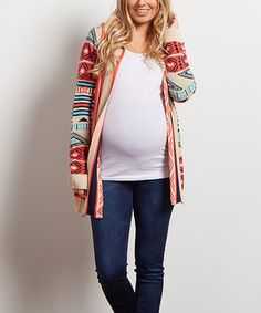 This PinkBlush Coral Geometric Open Maternity Cardigan by PinkBlush Maternity is perfect! #zulilyfinds
