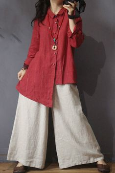 Pinstriped Asymmetrical Designer Blouse Womans Loose Flax Clothing in Red Blue One Size Pakistani Fashion Casual, Pakistani Dresses Casual, Casual Dresses, Fashion Pants, Fashion Dresses, Hijab Stile, Flax Clothing, Hijab Fashion Inspiration, Pantalon Large