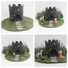 Canary Castle Playscape Play Mat felt pretend open-ended storytelling fantasy fairytale storybook princess make believe dollhouse peg doll