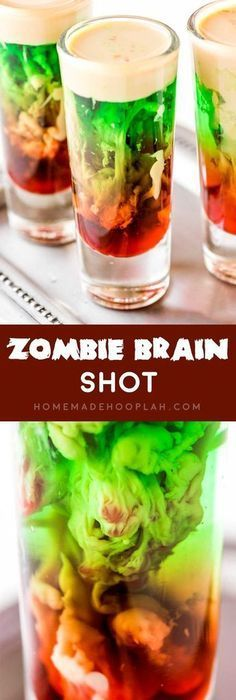 This totally creepy and absolutely cool zombie brain shot is … Zombie Brain Shot! This totally creepy and absolutely cool zombie brain shot is the ultimate Halloween drink. And it's as fun to make as it is to shoot – if you dare! Halloween Cocktails, Halloween Food For Party, Holiday Drinks, Halloween Treats, Halloween Shots, Bar Drinks, Cocktail Drinks, Yummy Drinks, Cocktail Recipes