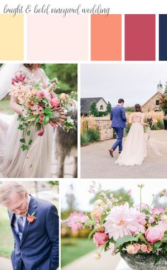 A Vineland Estates Wedding with a bright colour palette and romantic florals. Flowers by Niagara Wedding Florist Threads & Blooms. Vineyard Wedding, Farm Wedding, Vineland Estates, Summer Wedding Colors, Theme Color, Wedding Flowers, Wedding Dresses, Wedding Color Schemes, Wedding Designs