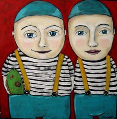 'The Fish' ... twins ... original painting by Suzan Buckner