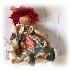 PRIMITIVE FOLK ART DOLL • SPECIAL ORDER FOR KIMM • RAGGEDY BUNNY HANG TAG OOAK