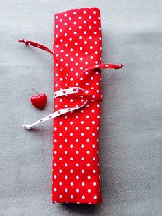 Knitting needle case red polka crochet by KnittingBagAndCase