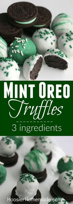 Mint Oreo Truffles, 3 ingredients is all you need for these delicious St. The kids will have a blast crushing the Oreos, and helping form the balls. Dip in chocolate coating, add sprinkles and you have a fun treat! Köstliche Desserts, Holiday Baking, Christmas Desserts, Christmas Treats, Christmas Baking, Delicious Desserts, Dessert Recipes, Christmas Truffles, Christmas Cookies