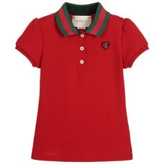 Gucci - Girls Red Cotton Piqué Polo Shirt | Childrensalon