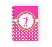 Spiral Notebook -Figure Skating - Pink and Green Polka-Dots by gollygirls