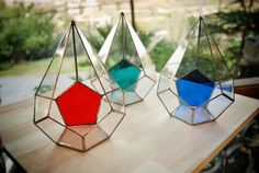 New! Colored Teardrop Stained Glass Terrarium / Geometric Terrarium / Rustic Greenhouse / Planter / Modern Glasshouse / Valentine's Day Gift