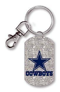 NFL Cowboys Keychains - NFL DALLAS COWBOYS GLITTER DOG TAG KEYCHAIN  Preorder free ship no fee  129064188