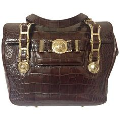 Vintage Gianni Versace brown croc-embossed leather tote bag with golden sunburst  Versace Bag 6b1e64b0cb2d8