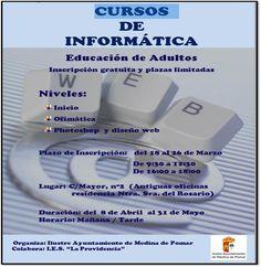 Medina de Pomar  Cursos de informática para adultos gratuitos.   Inscripciones abiertas del 18/03 al 05/04  Comienzan el día 8 de abril.  #Merindades