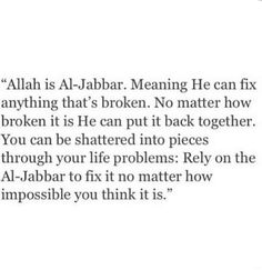 Allah is Al-Jabbar.. ❣