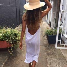 sun kissed, easy dress, big hat