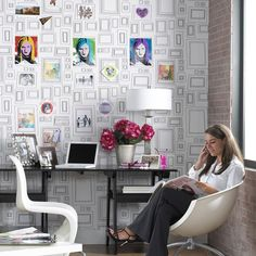 Frames Black / White Wallpaper by Graham and Brown