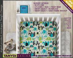 Crib Sheet Photoshop Styled Fabric Mockup | White Crib top view | 12 Nursery Interior JPG Scenes | PSD Custom colors