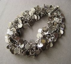 Brass Disc Bracelet Brass Disc Cluster MultiStrand by juliegarland, $45.00