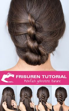 Hairstyles Tutorial: Multiple Knotted Banana Frisuren Tutorial: Mehrfach geknotete Banane Multiple knotted banana, which is not one . The multi-knotted banana disguises itself as a classic updo, but is styled differently. Our styling guide mak Unique Hairstyles, Pretty Hairstyles, Braided Hairstyles, Formal Hairstyles, Hairdos, Hairstyles Haircuts, Hair Pictures, Hairstyles Pictures, Fashion Pictures