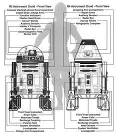 """Astromech Droid and Astromech Droid schematics showing their identically designed """"coin returns"""" similarly labeled as """"polarity sinks"""". Star Wars Droids, Star Wars Rpg, Star Wars Film, Star Wars Ships, Star Trek, Star Wars Christmas Lights, R2 Unit, Capital Ship, Star Wars Art"""