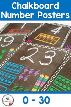 Chalk board number posters from 0 to 30. Each poster includes the digit, word and the number represented in ten frames, finger counting, tallies and unifix cubes. Numbers from 1 to 6 also have the number represented by dice. Great visual representation to help students with number sense, counting, one to one correspondence and more. Phonics Activities, Math Resources, Chalkboard Numbers, Number Recognition Activities, Number Posters, Number Identification, Ten Frames, Help Teaching, Number Sense