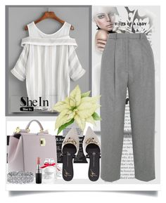 """""""Shein contest!!! The theme is: Grey Cold Shoulder Blouse"""" by manuela-cdl ❤ liked on Polyvore featuring Élitis, Dolce&Gabbana, Acne Studios, Palm Beach Jewelry, MAC Cosmetics and Victoria's Secret"""